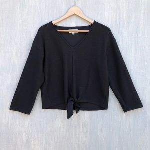 Madewell Texture & Thread ls tie front top M black